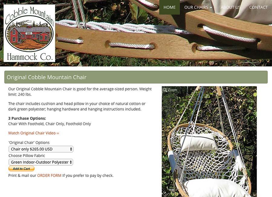 web design for small business - Cobble Mtn Hammock Co.
