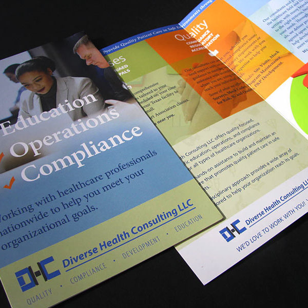 Half-fold brochure for Diverse Health Consulting, LLC
