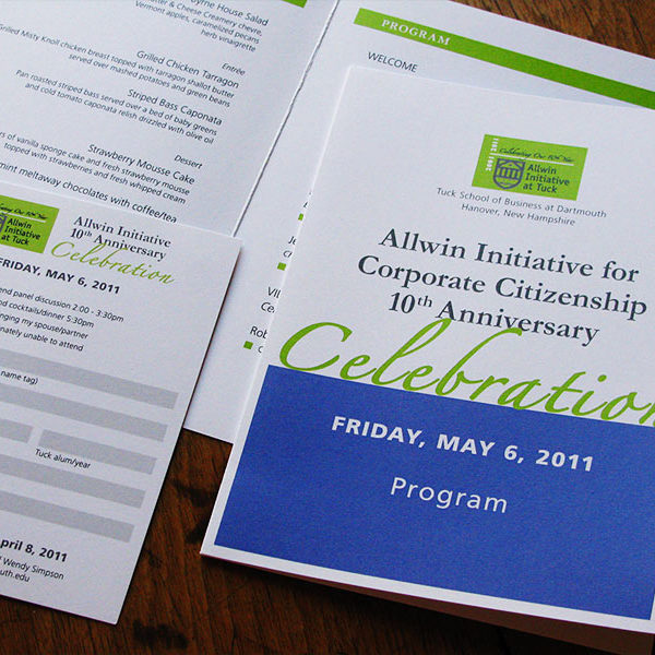 Program materials for Allwin Initiative, Tuck School of Business at Dartmouth College