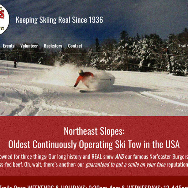 Website for Northeast Slopes, Corinth, VT